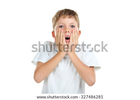 Portrait of emotional little boy on white background