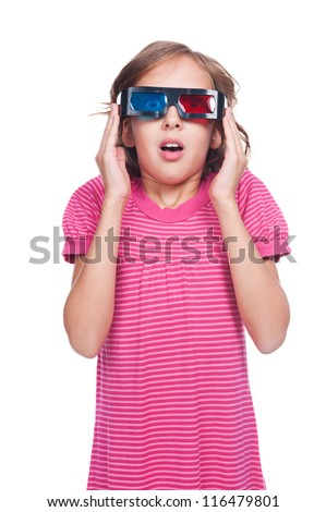 portrait of emotional little girl in 3d glasses. isolated on white background - stock photo