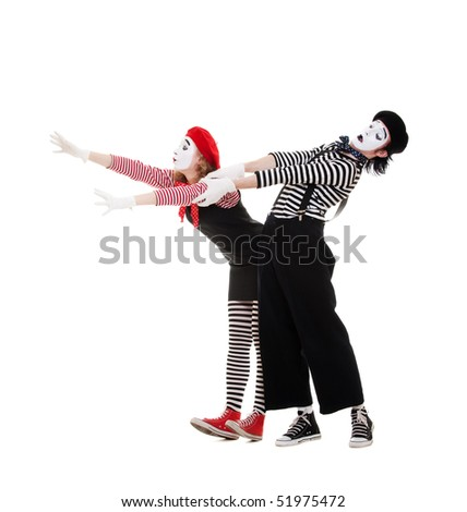 portrait of emotional mimes in striped costumes. isolated on white background - stock photo
