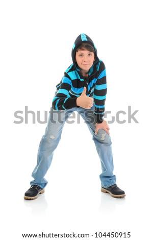 Portrait of emotionally boy. Isolated on a white background - stock photo