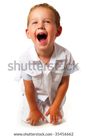 portrait of emotionally kid, close-up - stock photo