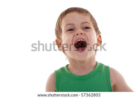 portrait of emotionally kid, close-up, over white - stock photo