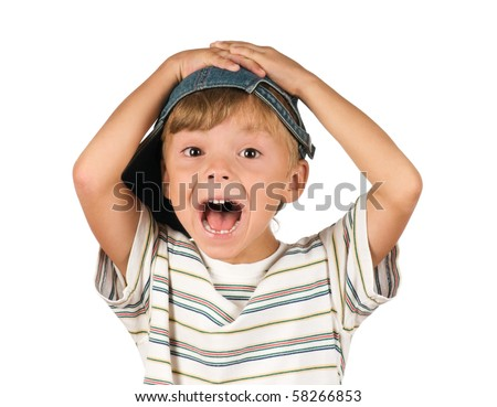 Portrait of emotionally kid. Funny little boy isolated on white background. Beautiful caucasian model. - stock photo