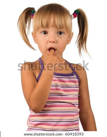 Portrait of emotionally kid. Funny little girl isolated on white background. Beautiful caucasian model. - stock photo
