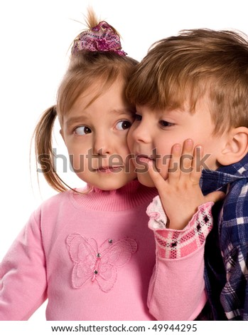 Portrait of emotionally kids. Beautiful caucasian models isolated on white background. - stock photo