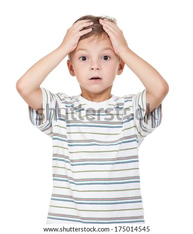 Portrait of emotionally little boy isolated on white background - stock photo
