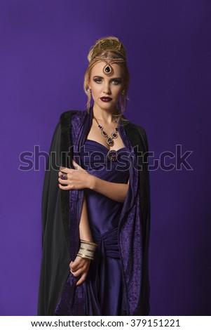 Portrait of empress Theodora in purple  - stock photo