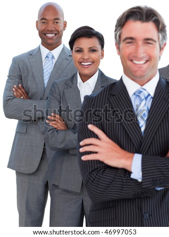 Portrait of enthusiastic business team against a white background - stock photo