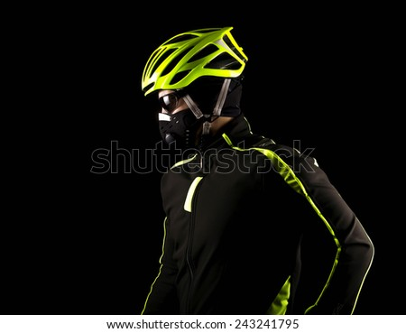 portrait of  equipped cyclist  - stock photo