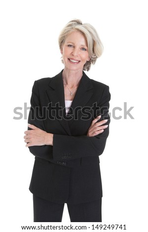 Portrait Of Excited Businesswoman Raising Hand On White Background - stock photo