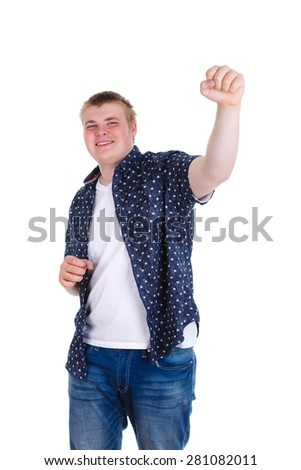 portrait of excited, energetic, happy, screaming student, business man winning, arms, fists pumped up, celebrating success, isolated on white background. Positive human emotion, facial expression - stock photo