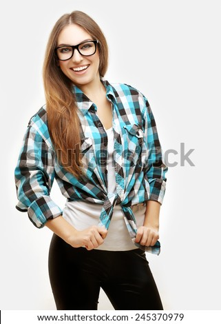 Portrait of excited girl ,  laughing at camera - stock photo