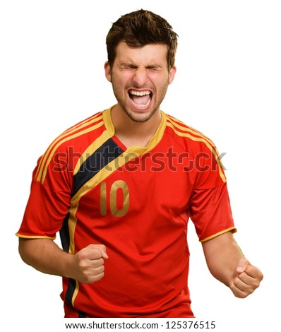 Portrait Of Excited Sportsman Isolated On White Background - stock photo