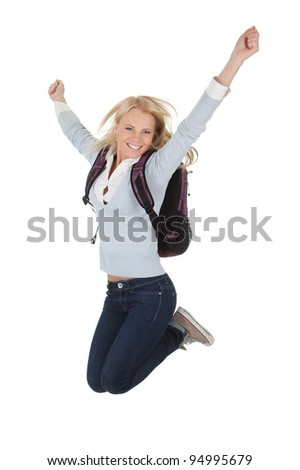 Portrait of excited student girl - stock photo