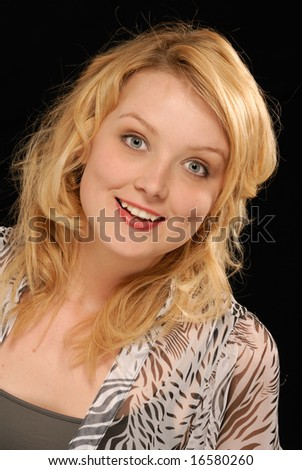 portrait of excited, very enthusiastic young pretty blond lady
