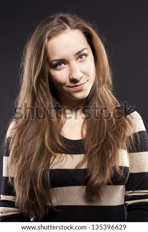portrait of excited woman - stock photo