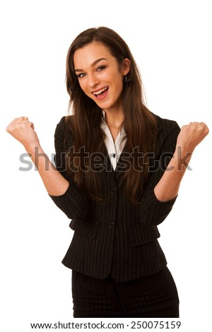 Portrait of excited young business woman isolated over white - stock photo