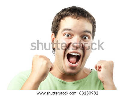portrait of excited young man shouting from victory isolated on white background - stock photo