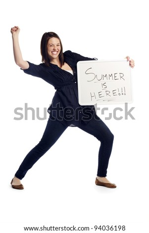 Portrait of excited young woman over white background holding billboard - summer is here - stock photo