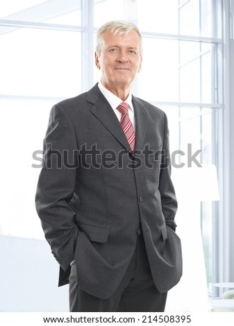 Portrait of executive chairman standing at office. Business people. - stock photo