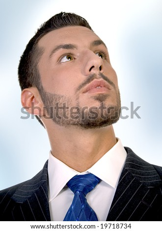 portrait of executive on an abstract  background - stock photo