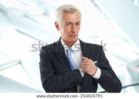Portrait of executive senior businessman standing at office. Business people.  - stock photo