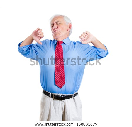 Portrait of exhausted sleepy, tired, bored elderly executive man, old businessman, yawning widely, stretching his back, isolated on a white background. Sleep deprivation, long meeting or working day - stock photo