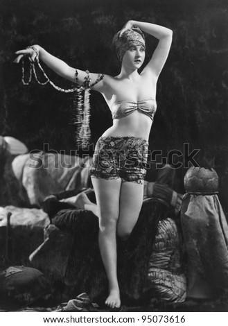 Portrait of exotic sensual woman - stock photo