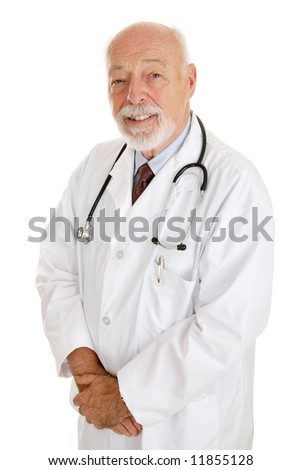 Portrait of experienced, mature doctor isolated on white. - stock photo
