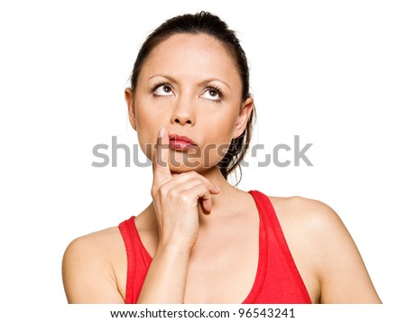 Portrait of expressive pensive cute woman looking up in studio isolated on white background - stock photo