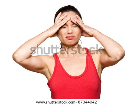 Portrait of expressive woman with severe headache in studio isolated on white background - stock photo