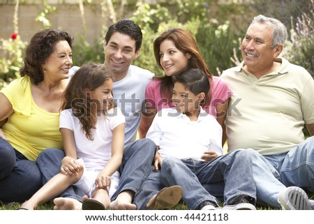 Portrait Of Extended Family Group In Park - stock photo