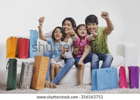 Portrait of family enjoying