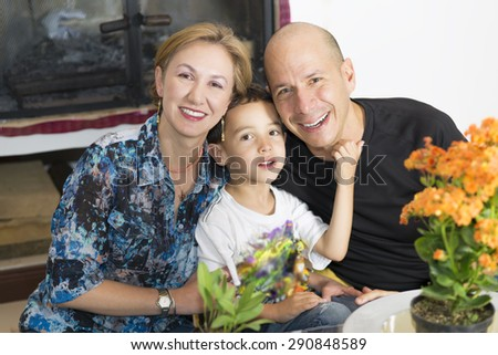 Portrait of family, Happy Family enjoying at home - stock photo