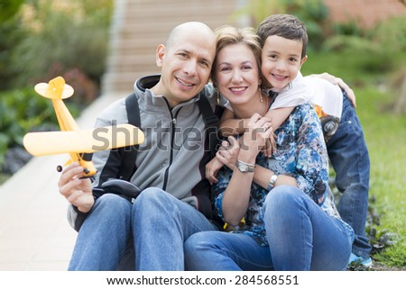 Portrait of family, Happy Family enjoying their Hobby At Home - stock photo