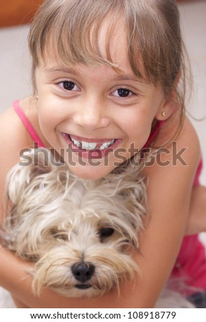 Portrait Of Family, Happy Little Girl And Her Dog Outdoor - stock photo