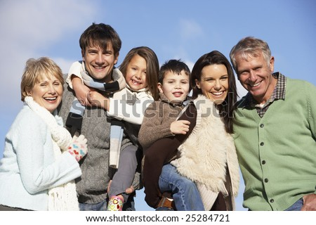 Portrait Of Family In The Park - stock photo