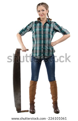 Portrait of farmer woman with the hand saw on white background - stock photo
