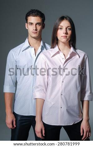 Portrait of fashion couple  - stock photo