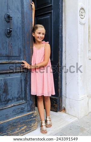 Portrait of fashion girl in Venice, Italy - stock photo