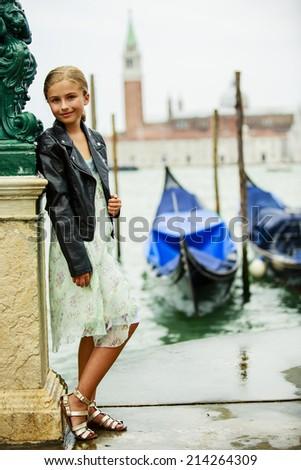 Portrait of fashion girl - Italy, Venice - stock photo