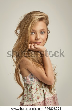 Portrait of fashion little girl - stock photo