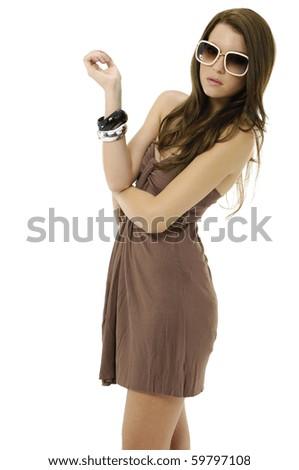 Portrait of fashion model in modern sunglasses posing - stock photo