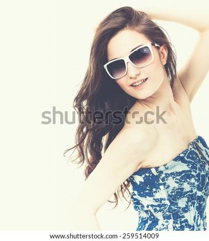 portrait of fashion woman in sunglasses  - stock photo