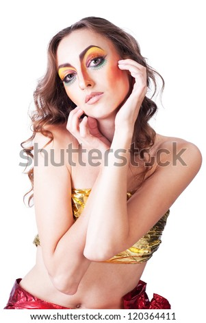 portrait of fashion woman model with beauty bright make-up - stock photo