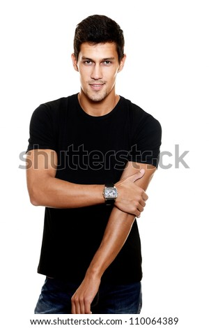 Portrait of fashion young caucasian sexy muscled attractive handsome athletic man boy model in casual clothes isolated on white - stock photo
