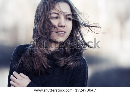 Portrait of fashion young girl outdoor  - stock photo