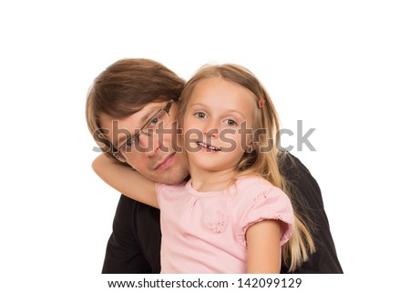 Portrait of father and her daughter. Isolated on a white background.