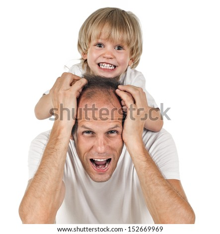 portrait of father and son on white background - stock photo
