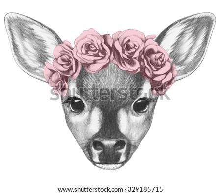 Portrait of Fawn with floral head wreath. Hand drawn illustration. - stock photo